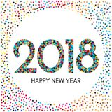 Szczęśliwa nowego roku 2018 etykietka z kolorowymi confetti Fotografia Royalty Free