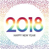 Szczęśliwa nowego roku 2018 etykietka z kolorowymi confetti Zdjęcie Royalty Free