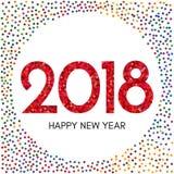 Szczęśliwa nowego roku 2018 etykietka z kolorowymi confetti Obraz Royalty Free
