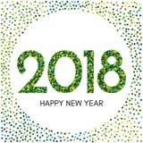Szczęśliwa nowego roku 2018 etykietka z zielonymi confetti Fotografia Royalty Free