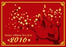 Szczęśliwa nowego roku 2016 karta jest lampionami, małpą i drzewem, Zdjęcie Royalty Free