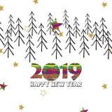 Szczęśliwa nowego roku 2019 karta z kreatywnie gwiazdami i cyframi royalty ilustracja