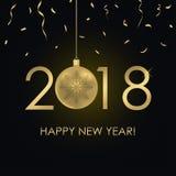 Szczęśliwa nowego roku 2018 karta z złoto liczbami i Bożenarodzeniową piłką z płatkiem śniegu, złoty confetti Wakacyjny plakat, s Obrazy Stock