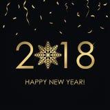 Szczęśliwa nowego roku 2018 karta z złoto liczbami i płatkiem śniegu, złoci confetti Wakacyjny plakat, sztandar wektor Fotografia Royalty Free