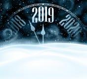 Szczęśliwa nowego roku 2019 karta z zegarem, śniegiem i miecielicą, zdjęcia stock