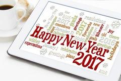 Szczęśliwa nowego roku 2017 słowa chmura Fotografia Royalty Free