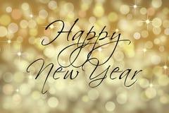 Szczęśliwa nowego roku teksta karta Zdjęcia Royalty Free