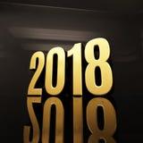Szczęśliwa nowego roku teksta projekta 3D 2018 ilustracja Obrazy Stock