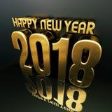 Szczęśliwa nowego roku teksta projekta 3D 2018 ilustracja Fotografia Royalty Free