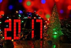 Szczęśliwa nowego roku 2017 zielonego szkła choinka Obraz Royalty Free
