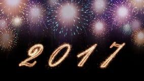 Szczęśliwa nowy rok 2017 ilustracja, karta z fajerwerkami Obrazy Royalty Free