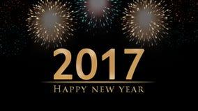 Szczęśliwa nowy rok 2017 ilustracja, karta z fajerwerkami, tekst na czarnym tle Obrazy Royalty Free