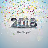 Szczęśliwa nowy rok 2018 ilustracja z 3d Numerową i Ornamentacyjną piłką na Błyszczącym confetti tle Wektorowy wakacyjny projekt Obrazy Royalty Free