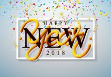 Szczęśliwa nowy rok 2018 ilustracja z Kolorowymi confetti i 3d literowanie na Błyszczącym Lekkim tle Wektorowy wakacje ilustracji
