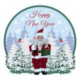Szczęśliwa nowy rok karta, majcher, etykietki wektorowa płaska ilustracja royalty ilustracja