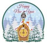 Szczęśliwa nowy rok karta, majcher, etykietki wektorowa płaska ilustracja ilustracja wektor