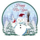 Szczęśliwa nowy rok karta, majcher, etykietki wektorowa płaska ilustracja ilustracji