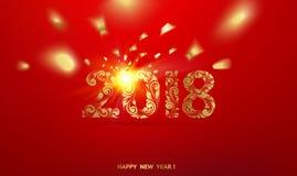 Szczęśliwa nowy rok karta nad czerwonym tłem Fotografia Royalty Free