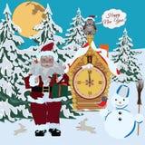 Szczęśliwa nowy rok karta, plakatowa wektorowa płaska ilustracja ilustracja wektor