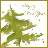 Szczęśliwa nowy rok karta z choinką Zdjęcia Stock