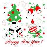 Szczęśliwa nowy rok karta z stylizowaną boże narodzenie dekoracją ilustracji