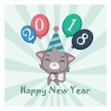 Szczęśliwa nowy rok karty ilustracja z kotem Zdjęcie Stock