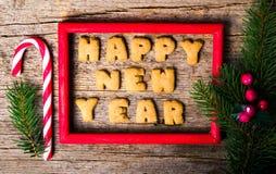 Szczęśliwa nowy rok notatka pisać z ciastkami zdjęcia royalty free