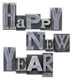 Szczęśliwa nowy rok typografia Zdjęcie Royalty Free