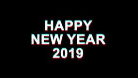 Szczęśliwa nowy rok usterki skutka teksta Cyfrowego TV wykoślawienia 4K pętli 2019 animacja zdjęcie wideo