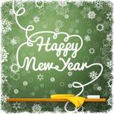Szczęśliwa nowy rok wiadomość, pisać na zieleni fotografia royalty free