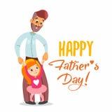 Szczęśliwa ojca dnia karta z ilustracją tata i córka Obrazy Royalty Free