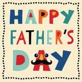 Szczęśliwa ojca dnia karta z ręcznie robiony tekstem Zdjęcie Royalty Free