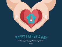 Szczęśliwa ojca ` s dnia sztandaru karta z Origami Błękitną koszula, menchia krawatem w czerwień papieru sercu na ręki mienia wek Fotografia Royalty Free