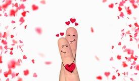 Szczęśliwa palcowa para w miłości świętuje Valentine's dzień ilustracja wektor