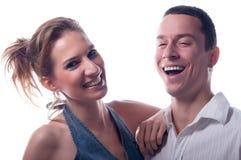 Szczęśliwa para odizolowywająca na bielu Zdjęcie Stock