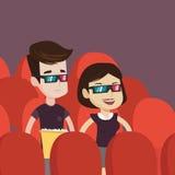 Szczęśliwa para ogląda 3D film w theatre Obrazy Royalty Free