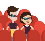 Szczęśliwa para ogląda 3D film w theatre Zdjęcia Stock