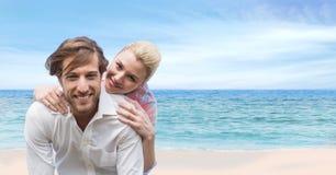 Szczęśliwa para Przy plażą obrazy royalty free