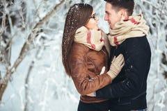 Szczęśliwa para w śniegu parku Obrazy Royalty Free