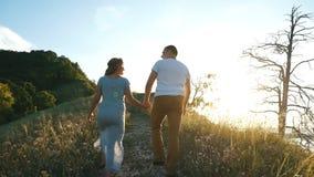 Szczęśliwa para w górę wzgórza mienia ręk zdjęcie wideo