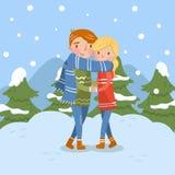 Szczęśliwa para w miłości, romantycznym mężczyzna i kobieta charakterach, ilustracji
