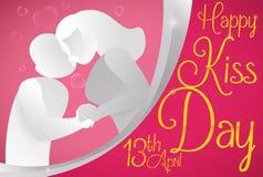 Szczęśliwa para Wyraża ich miłości dla buziaka dnia wydarzenia, Wektorowa ilustracja royalty ilustracja