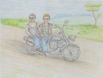 Szczęśliwa pary jazda na motocyklu Fotografia Stock