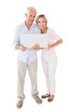 Szczęśliwa pary pozycja i używać wpólnie laptop Zdjęcia Royalty Free