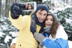 szczęśliwa pary zima Zdjęcie Stock