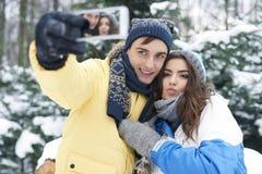 szczęśliwa pary zima Obrazy Royalty Free