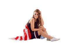 Szczęśliwa patriotyczna kobiety mienia usa flaga Obraz Royalty Free