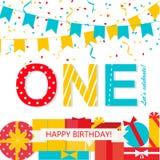 Szczęśliwa Pierwszy Urodzinowa rocznicy karta Obraz Royalty Free