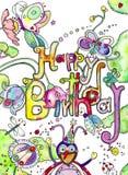 szczęśliwa pluskwy urodzinowa karta Zdjęcie Stock