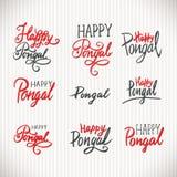Szczęśliwa Pongal wakacyjna ręka pisać literowanie, rocznika stylu etykietki ilustracji
